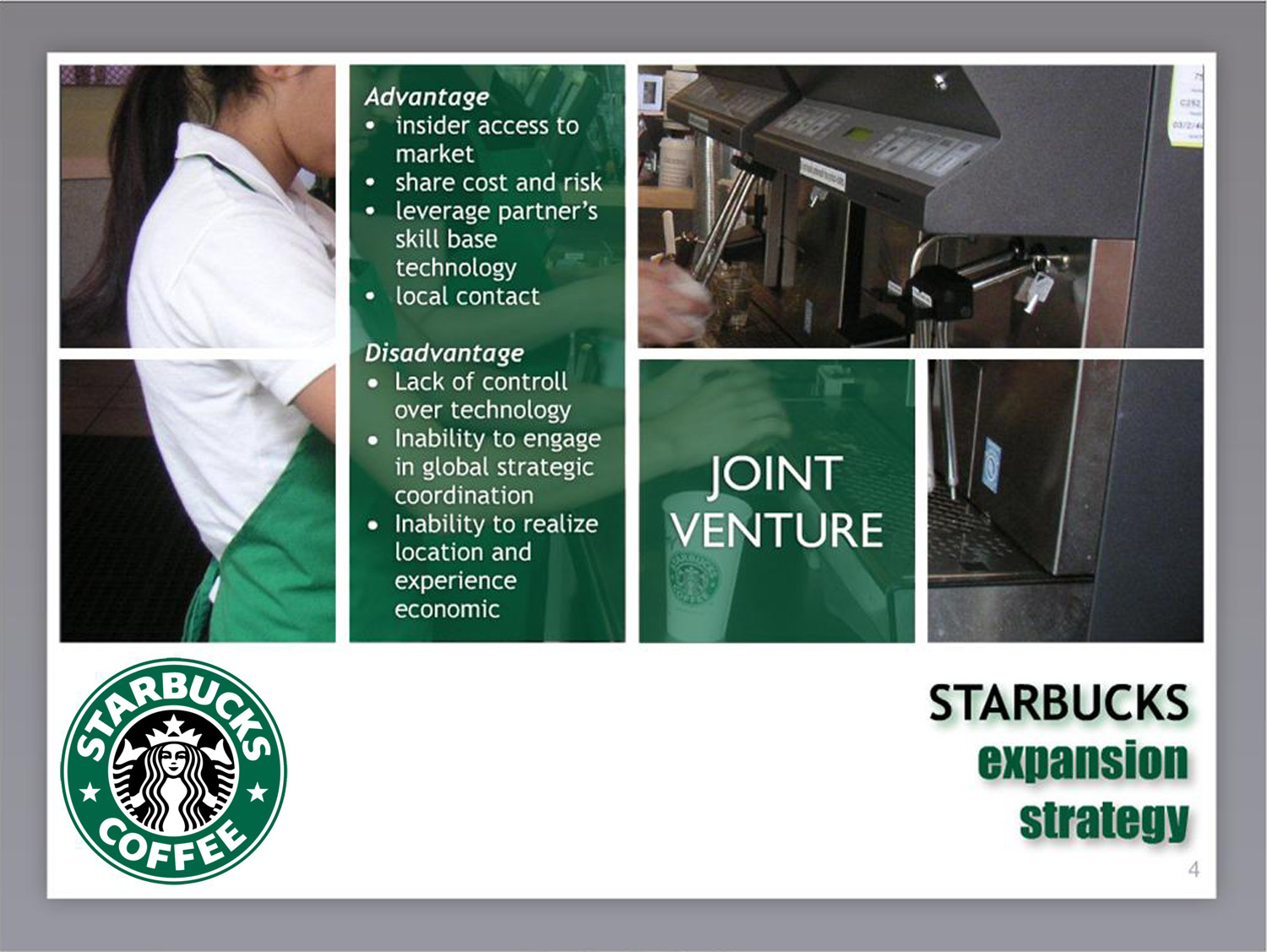 starbucks global expansion strategy Recommendation for starbucks coffee company to be a real global company, starbucks can participate in or support its growth strategy might work just as in us.